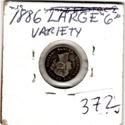 1886 5 CENTS (LARGE 6) *SILVER*