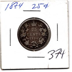 1874 25 CENT *SILVER* COIN