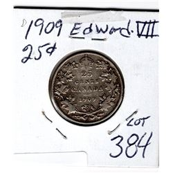 1909 25 CENTS *SILVER*