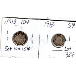 1913 10 CENTS AND 1913 5 CENT PIECES *SILVER*