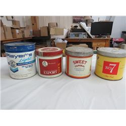 4 TOBACCO CANS (PLAYERS *NO LID*, EXPORT, SWEET CAPORAL, NO. 7)