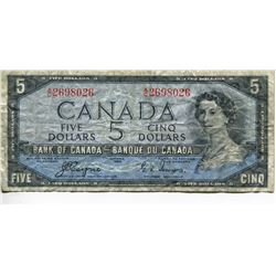1954 CNDN $5 BANK NOTE, *DEVILS FACE*, (COYNE/TOWERS)
