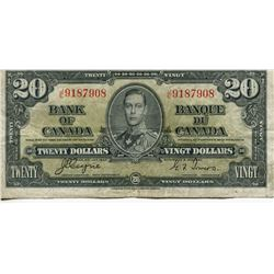 1937 CNDN $20 BANK NOTE (COYNE/TOWERS)