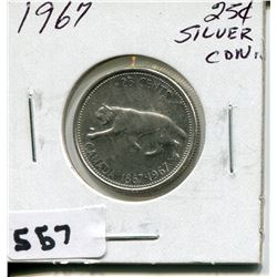 1967 CNDN SILVER 25 CENT PC