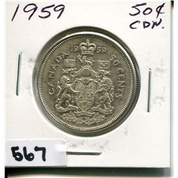 1959 CNDN SILVER 50 CENT PC