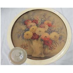 LARGE ROUND IVORY FRAME (W/FLORAL PRINT) & #5 POTTERY LID