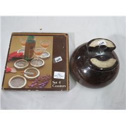 BROWN POTTERY TELEPHONE INSULATOR & COASTER SET (BOXED)
