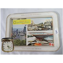 EXPO 67 METAL TRAY & SABRE TRAVEL ALARM (W/AUTO DATE IN CASE)