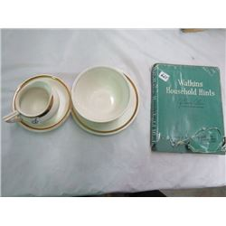SAUCERED CREAM AND SUGAR & 1941 WATKINS HOUSEHOLD HINTS (W/PAPER JACKET)
