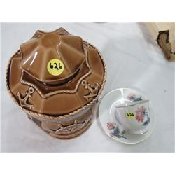 BROWN POTTERY COOKIE JAR & CUP AND SAUCER (FROM OCCUPIED JAPAN)