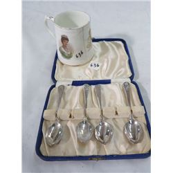 BOXED SET OF FOUR SILVER COFFEE SPOONS (1937 CORONATION) & SMALL MUG (1937) *CRACKED*