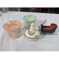 AVON DISH (LIDDED TWO PIECE, BUNNY ON TOP DISH) & 2 BESWICK SUNDAY DISHES & METAL SLEIGH (CRAFTED FR