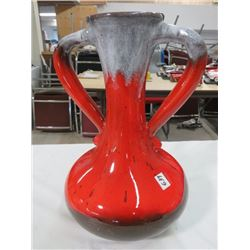 "LARGE RED/BROWN VASE *TWO HANDLED*, *14""H*"