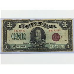 1923 ONE DOLLAR BANK NOTE (DOMINION OF CANADA) *PURPLE SEAL*
