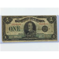 1923 ONE DOLLAR BANK NOTE (DOMINION OF CANADA) *BLACK SEAL*