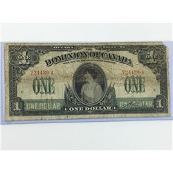 1917 ONE DOLLAR BANK NOTE (DOMINION OF CANADA)
