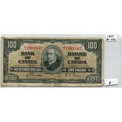 1937 BANK OF CANADA (100 DOLLAR NOTE)