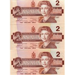 3 CONSCECUTIVE BANK OF CANADA (TWO DOLLAR BANK NOTE)