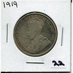 1919 CANADIAN 50 CENT COIN
