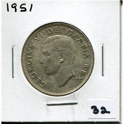 1951 CANADIAN 50 CENT COIN