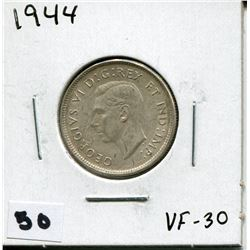 1944 CANADIAN 25 CENT COIN