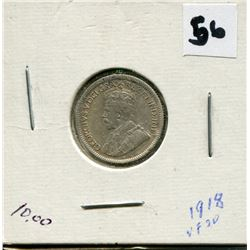 1918 CANADIAN 10 CENT COIN