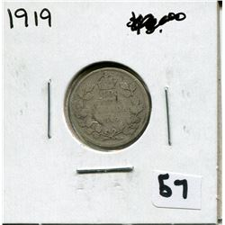 1919 CANADIAN 10 CENT COIN