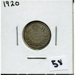 1920 CANADIAN 10 CENT COIN