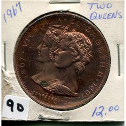 1967  TWO QUEENS CANADA CONFEDERATIONS COIN  (1867-1967)