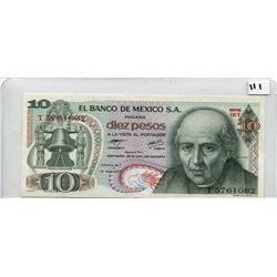 1977 10 PESOS NOTE (BANK OF MEXICO) *UNC*