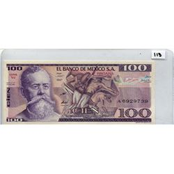 1982 ONE HUNDRED PESOS NOTE (BANK OF MEXICO) *UNC*