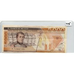 1989 FIVE THOUSAND PESOS NOTE (BANK OF MEXICO)