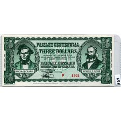 1974 THREE DOLLAR NOTE (PAISLEY CENTENNIAL)