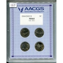 2004-2005 4X GRADED U.S.A. NICKELS, *MS64 W/CASE*