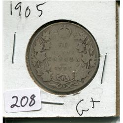 1905 CNDN SILVER 50 CENT PC