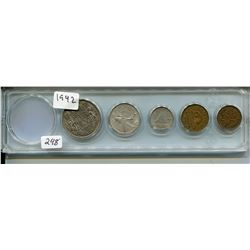 1942 CNDN 5 COINS (PENNY TO 50 CENT PC)