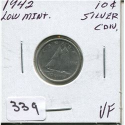 1942 CNDN SILVER DIME, *LOW MINTAGE*