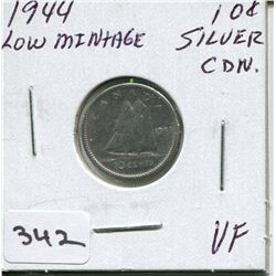 1944 CNDN SILVER DIME, *LOW MINTAGE*