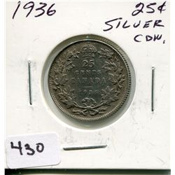 1936 CNDN SILVER 25 CENT PC