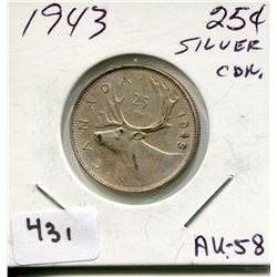 1943 CNDN SILVER 25 CENT PC