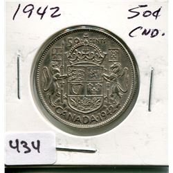 1942 CNDN SILVER 50 CENT PC