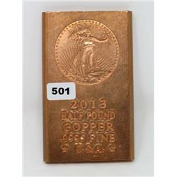 COPPER BAR (HALF POUND) *2013 .995 FINE U.S.A*
