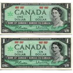 TWO $1 CNDN BANK NOTES (1967 CENTENNIAL) *BEATTIE/RASMINSKY* UNCIRC
