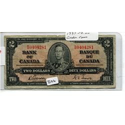 1937 CNDN $2 BANK NOTE *GORDON/TOWERS*