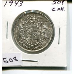 1943 CNDN 50 CENT PC. *SILVER*
