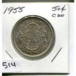 1955 CNDN 50 CENT PC. *SILVER*