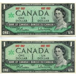 2 - 1967 CNDN $1 BANK NOTES (CENTENNIAL) *UNCIRCULATED*