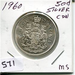 1960 CNDN SILVER 50 CENT PC