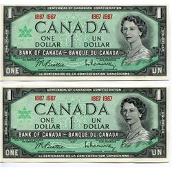 2 - 1967CNDN $1 BANK NOTES (CENTENNIAL) *UNCIRCULATED*