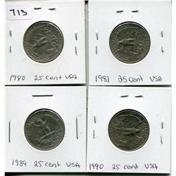 LOT OF 4 TWENTY FIVE CENT PCS *1980, 81, 89, 90*